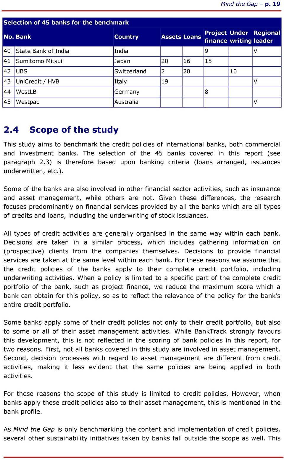 WestLB Germany 8 45 Westpac Australia V 2.4 Scope of the study This study aims to benchmark the credit policies of international banks, both commercial and investment banks.
