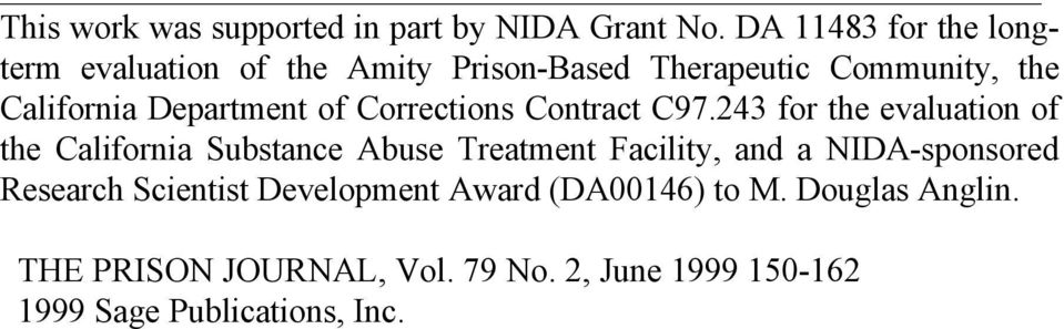 Department of Corrections Contract C97.