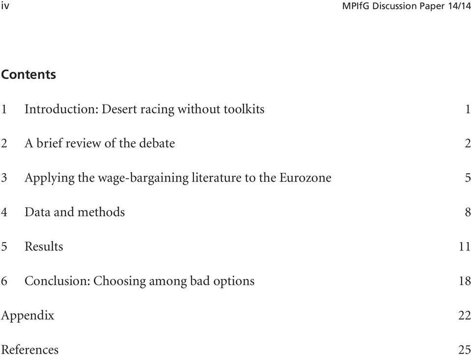 wage-bargaining literature to the Eurozone 5 4 Data and methods 8 5