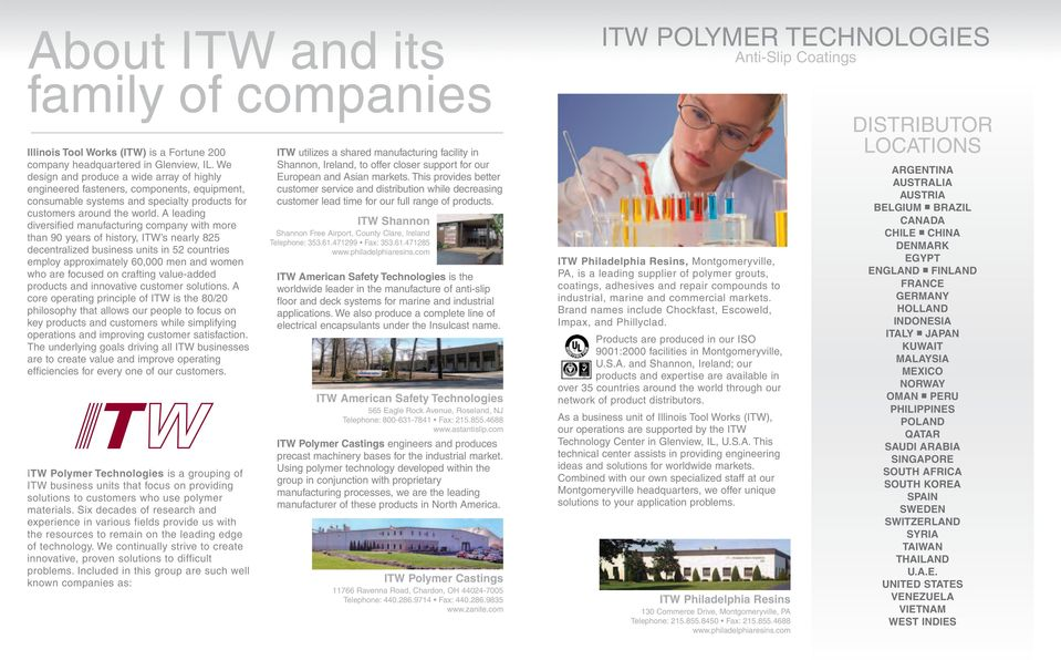 A leading diversified manufacturing company with more than 90 years of history, ITW s nearly 825 decentralized business units in 52 countries employ approximately,000 men and women who are focused on