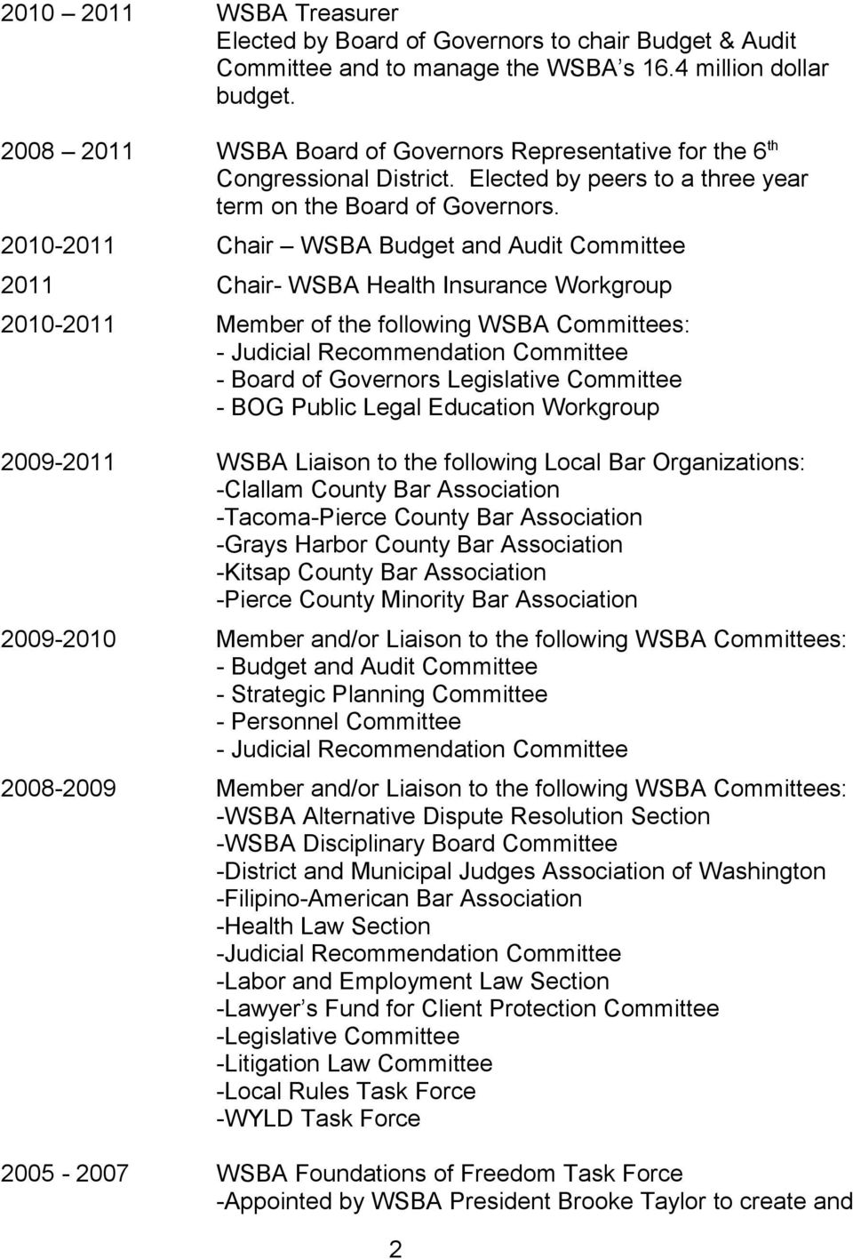 2010-2011 Chair WSBA Budget and Audit Committee 2011 Chair- WSBA Health Insurance Workgroup 2010-2011 Member of the following WSBA Committees: - Judicial Recommendation Committee - Board of Governors