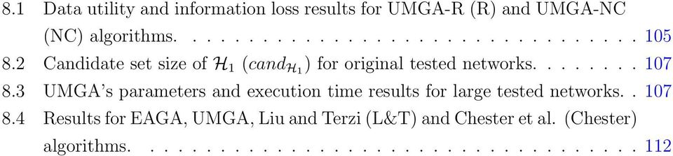 3 UMGA s parameters and execution time results for large tested networks.. 107 8.