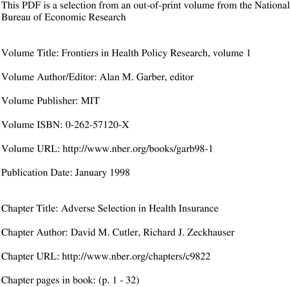 Garber, editor Volume Publisher: MIT Volume ISBN: 0-262-57120-X Volume URL: http://www.nber.