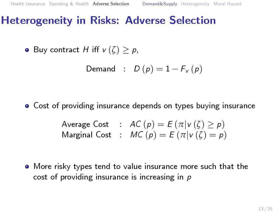 AC (p) = E (π v (ζ) p) Marginal Cost : MC (p) = E (π v (ζ) = p) More risky types tend