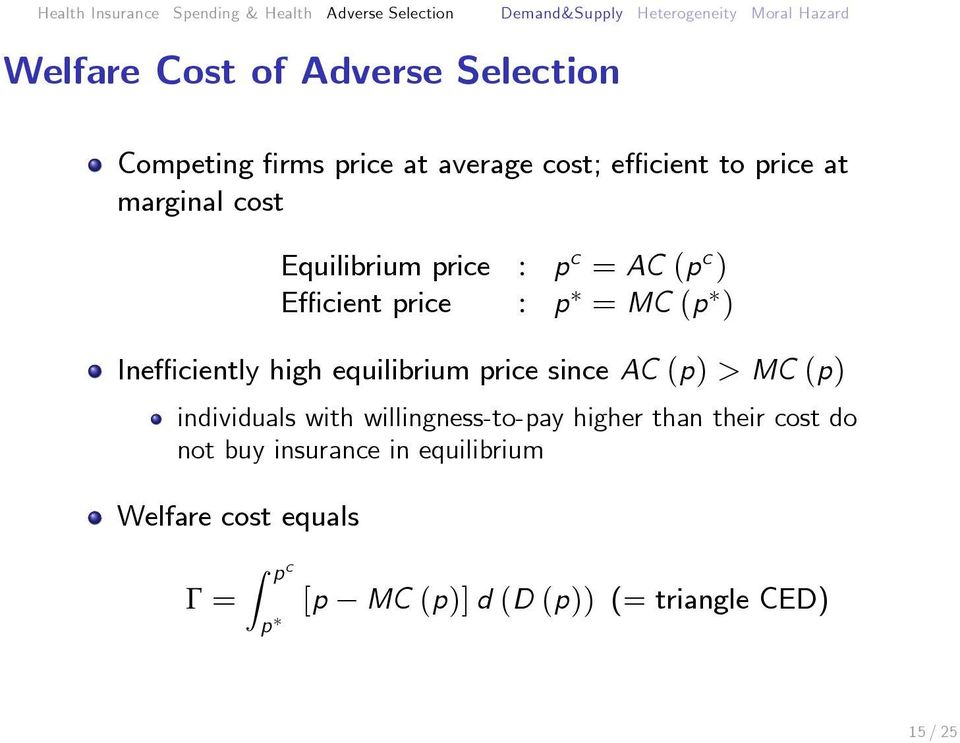 equilibrium price since AC (p) > MC (p) individuals with willingness-to-pay higher than their cost do