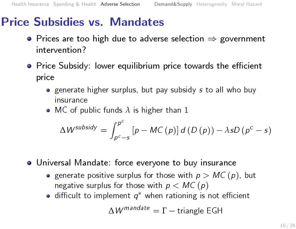 public funds λ is higher than 1 p c W subsidy = [p MC (p)] d (D (p)) λsd p c s (pc s) Universal Mandate: force everyone to buy insurance