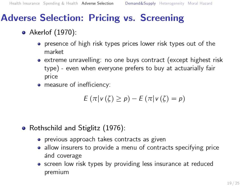 contract (except highest risk type) - even when everyone prefers to buy at actuarially fair price measure of ineffi ciency: E (π v (ζ)