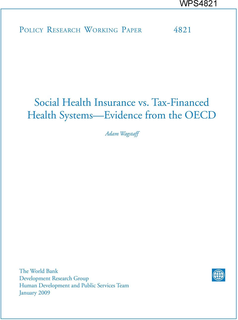Tax-Financed Health Systems Evidence from the OECD Adam
