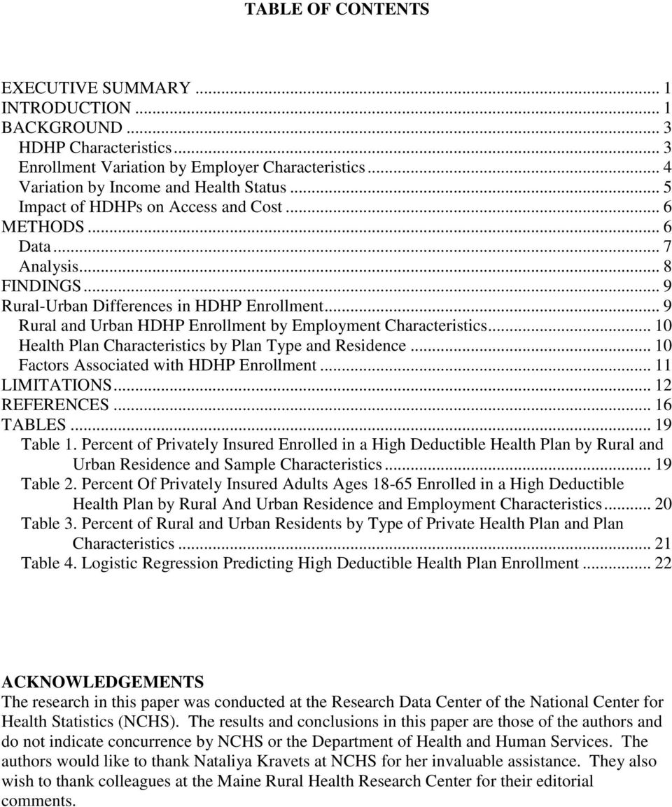 .. 9 Rural and Urban HDHP Enrollment by Employment Characteristics... 10 Health Plan Characteristics by Plan Type and Residence... 10 Factors Associated with HDHP Enrollment... 11 LIMITATIONS.