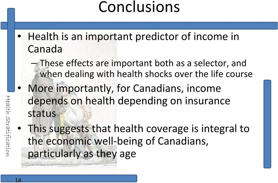 importantly, for Canadians, income depends on health depending on insurance status This