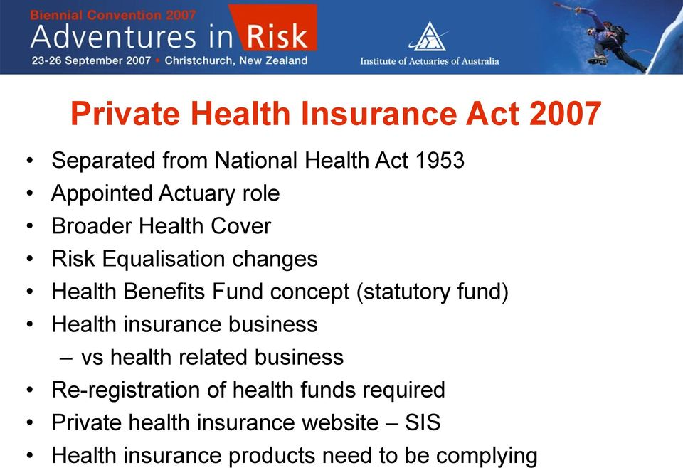fund) Health insurance business vs health related business Re-registration of health funds