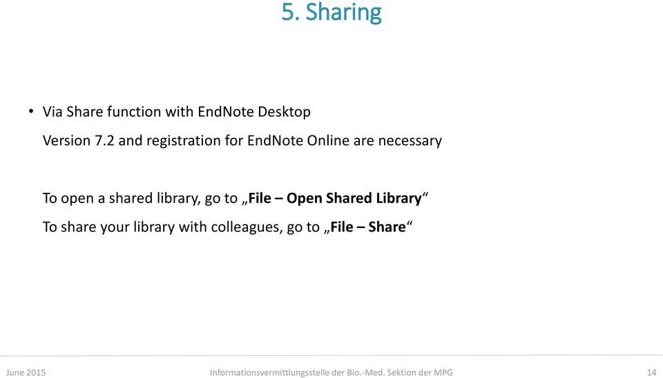 library, go to File Open Shared Library To share your library with