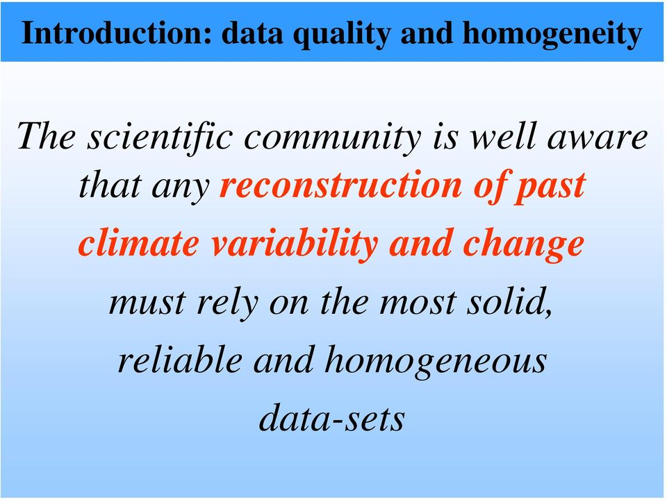 reconstruction of past climate variability and