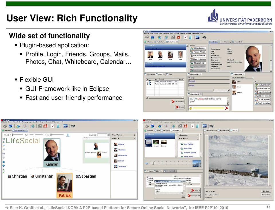 Fast and user-friendly performance See: K. Graffi et al., LifeSocial.