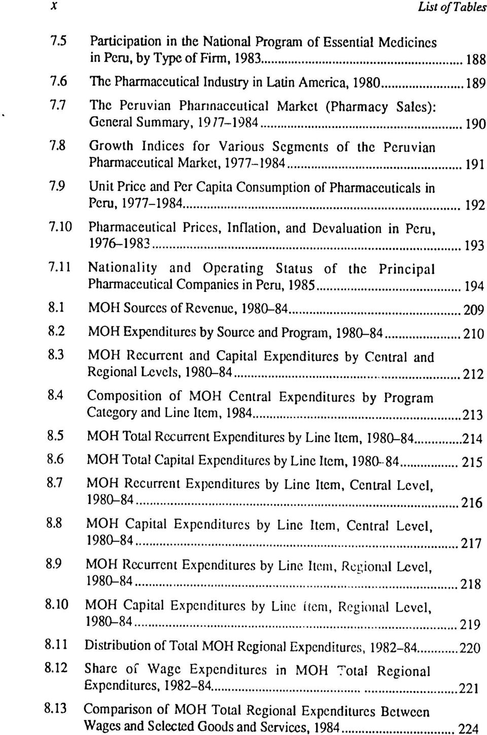 .. 192 7.1 Pharmaceutical Prices, Inflation, and Devaluation in Peru, 1976-1983... 193 7.11 Nationality and Operating Status of the Principal Pharmaceutical Companies in Peru, 1985... 194 8.