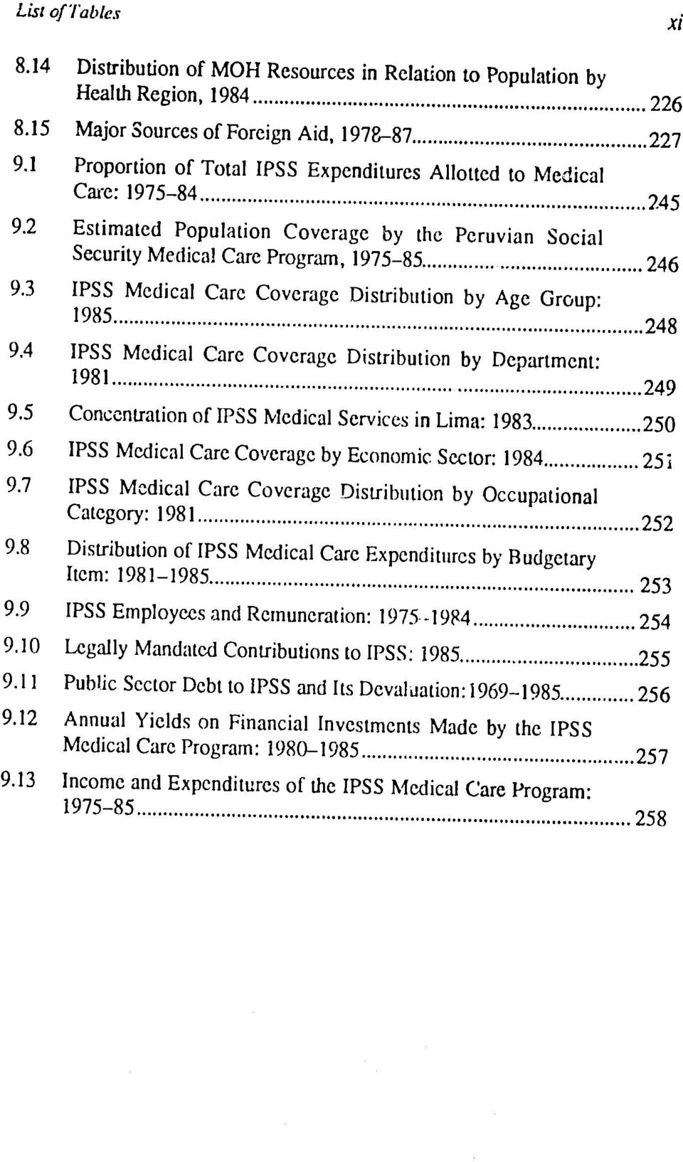 .. 248 9.4 IPSS Medical Care Coverage Distribution by Department: 1981... 24 9 9.5 Concentration of IPSS ledical Services in Lima: 1983... 25 9.6 IPSS Medical Care Coverage by Economic Sector: 1984.