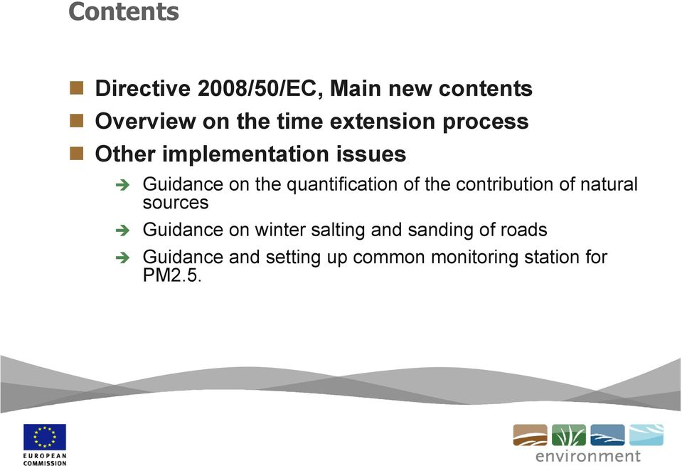 quantification of the contribution of natural sources Guidance on winter