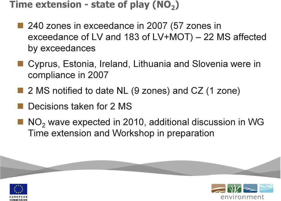 Slovenia were in compliance in 2007 2 MS notified to date NL (9 zones) and CZ (1 zone) Decisions