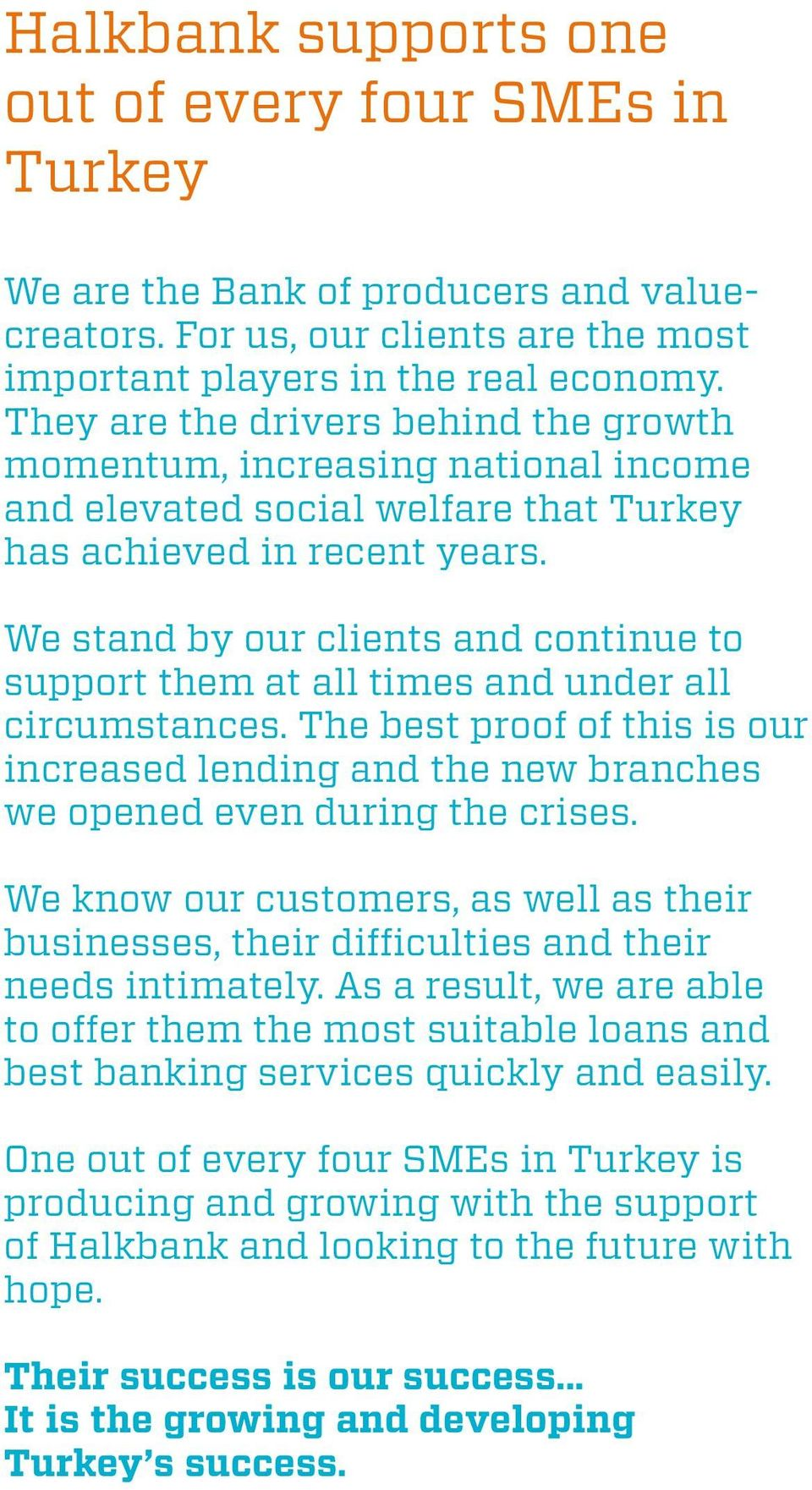 We stand by our clients and continue to support them at all times and under all circumstances. The best proof of this is our increased lending and the new branches we opened even during the crises.