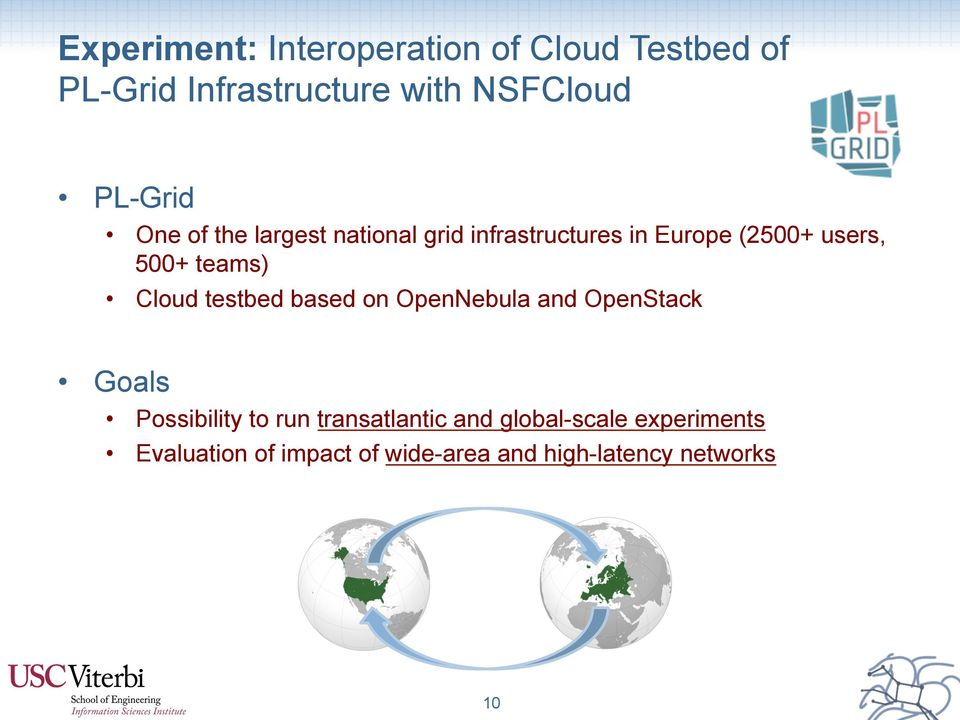 teams) Cloud testbed based on OpenNebula and OpenStack Goals Possibility to run