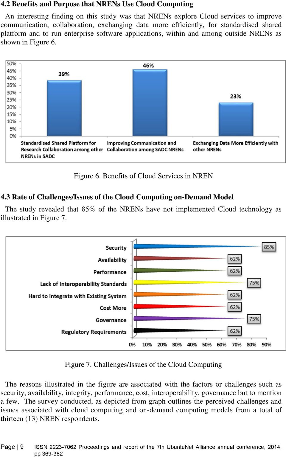 3 Rate of Challenges/Issues of the Cloud Computing on-demand Model The study revealed that 85% of the NRENs have not implemented Cloud technology as illustrated in Figure 7.
