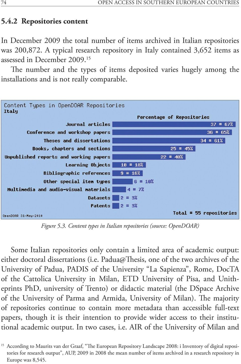 15 The number and the types of items deposited varies hugely among the installations and is not really comparable. Figure 5.3.
