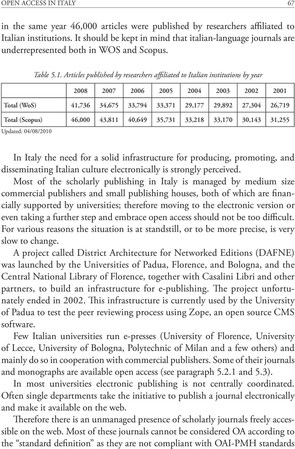 Articles published by researchers affiliated to Italian institutions by year 2008 2007 2006 2005 2004 2003 2002 2001 Total (WoS) 41,736 34,675 33,794 33,371 29,177 29,892 27,304 26,719 Total (Scopus)