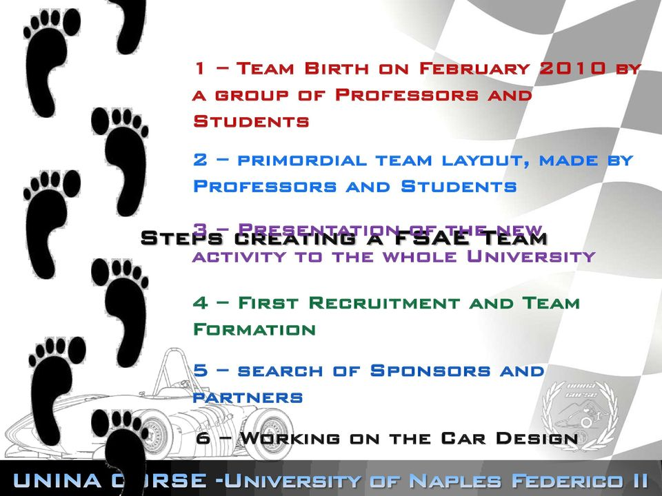 new activity to the whole University Steps creating a FSAE Team 4 First