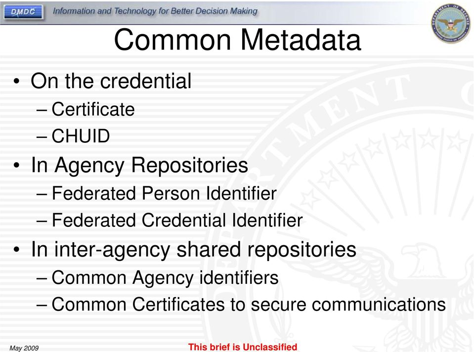Credential Identifier In inter-agency shared repositories