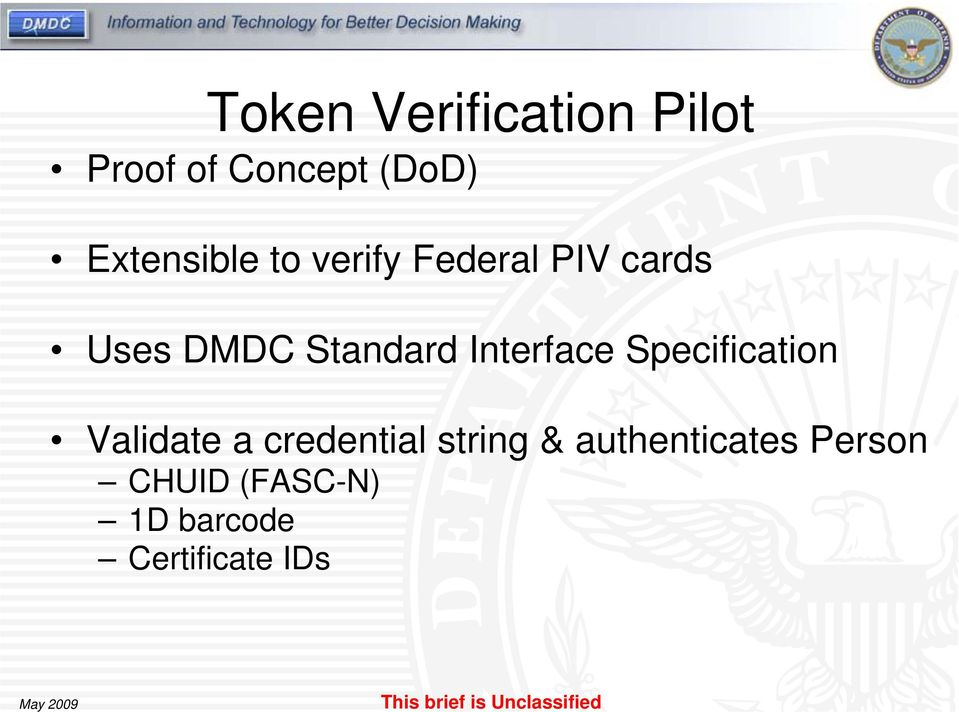 Interface Specification Validate a credential string &