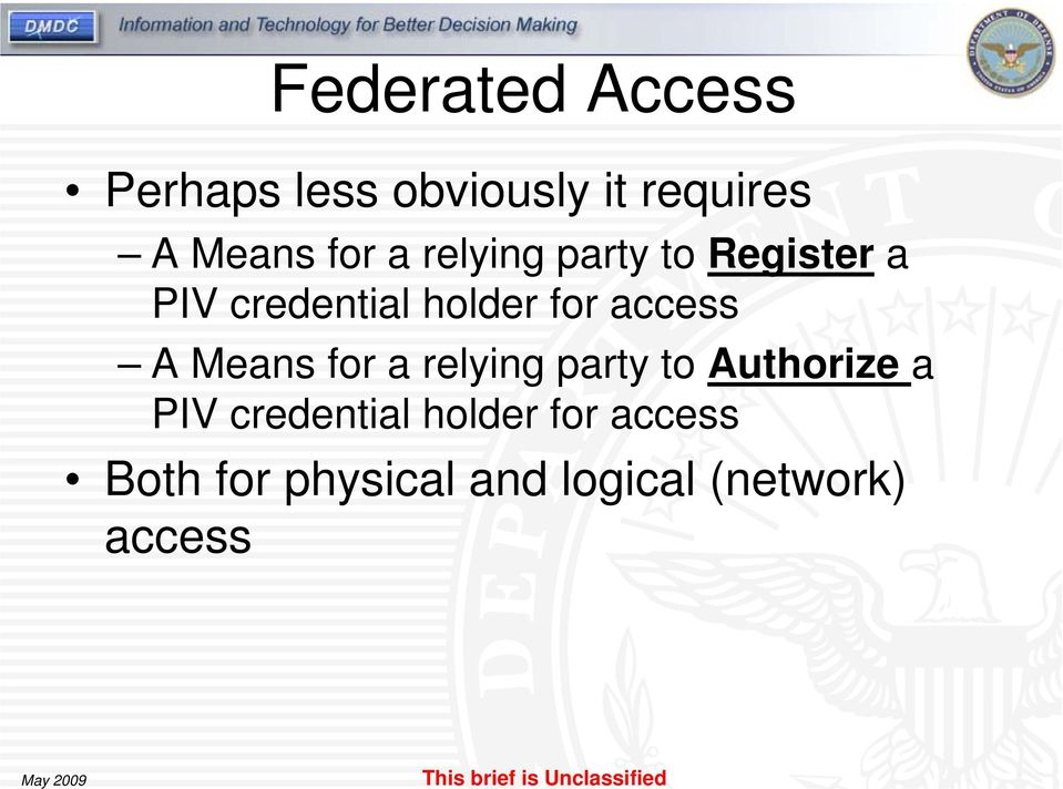 access A Means for a relying party to Authorize a PIV