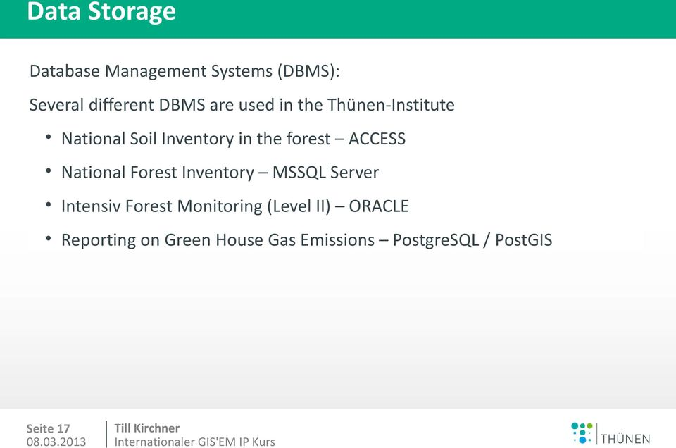National Forest Inventory MSSQL Server Intensiv Forest Monitoring (Level II)