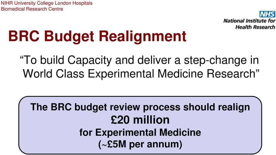 Research The BRC budget review process should