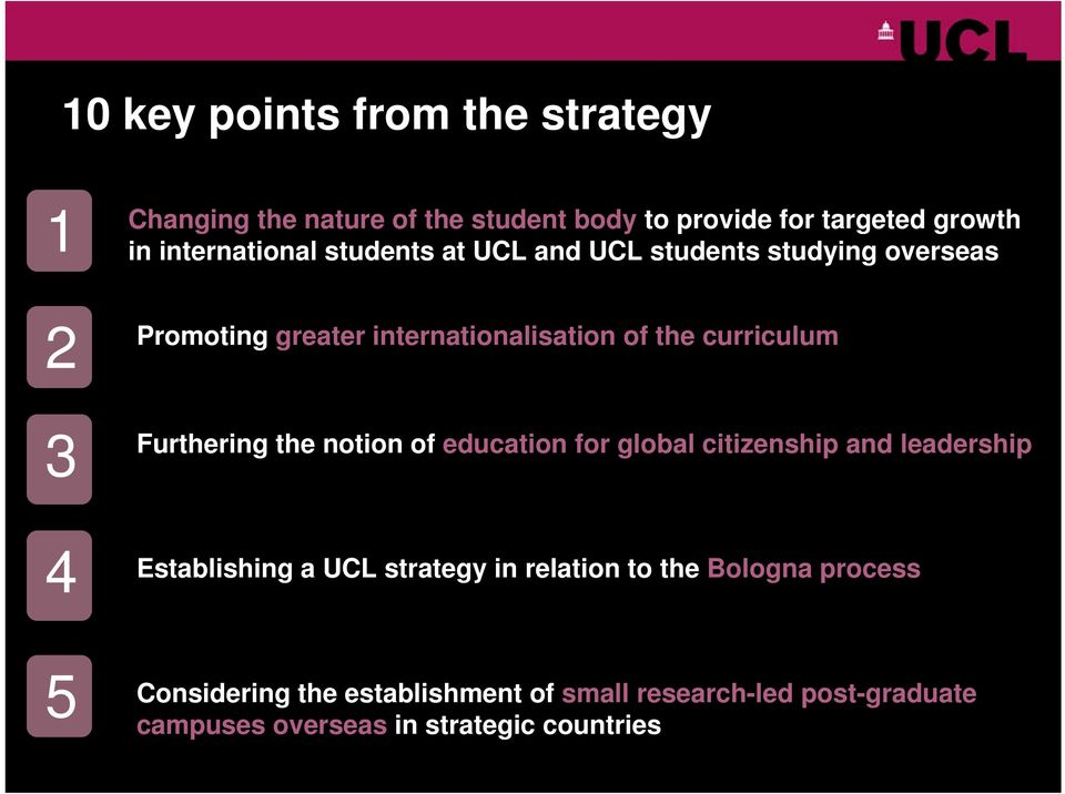 curriculum Furthering the notion of education for global citizenship and leadership 4 Establishing a UCL strategy in