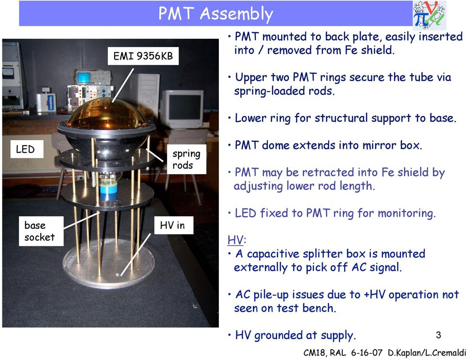 LED base socket spring rods HV in PMT dome extends into mirror box. PMT may be retracted into Fe shield by adjusting lower rod length.