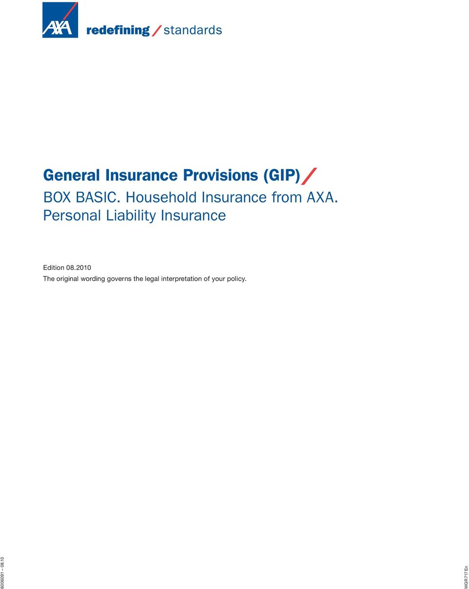 Personal Liability Insurance Edition 08.
