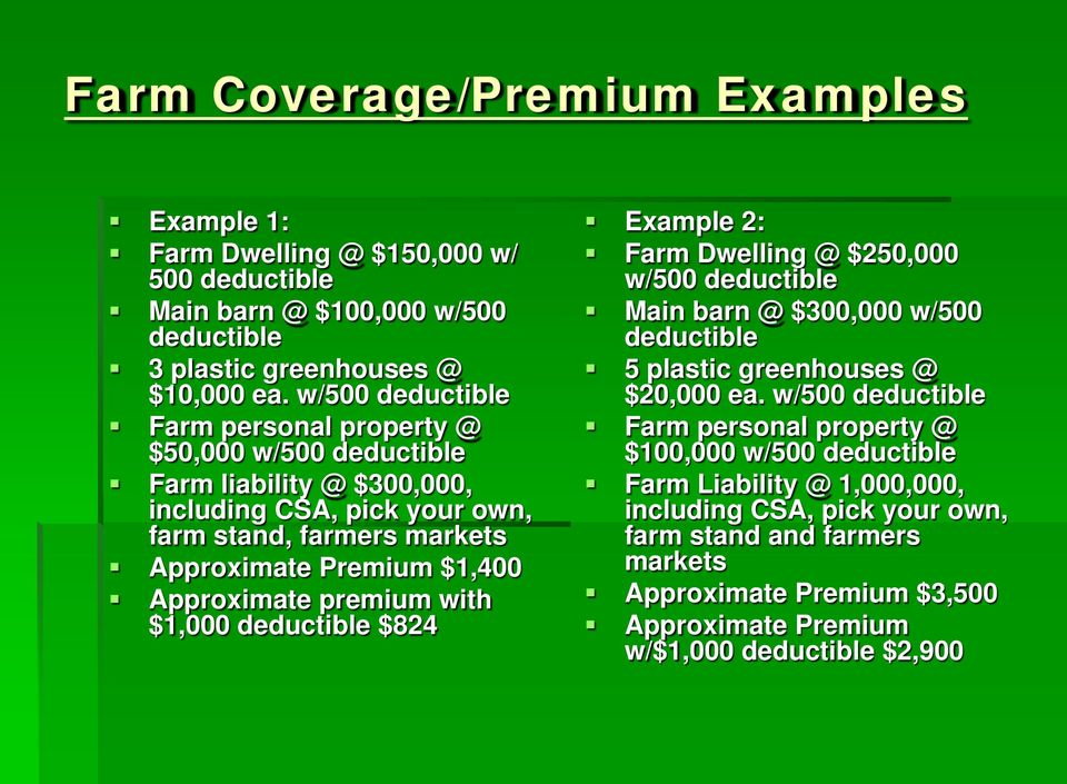 Approximate premium with $1,000 deductible $824 Example 2: Farm Dwelling @ $250,000 w/500 deductible Main barn @ $300,000 w/500 deductible 5 plastic greenhouses @ $20,000 ea.