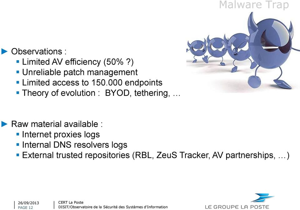000 endpoints Theory of evolution : BYOD, tethering, Raw material available :