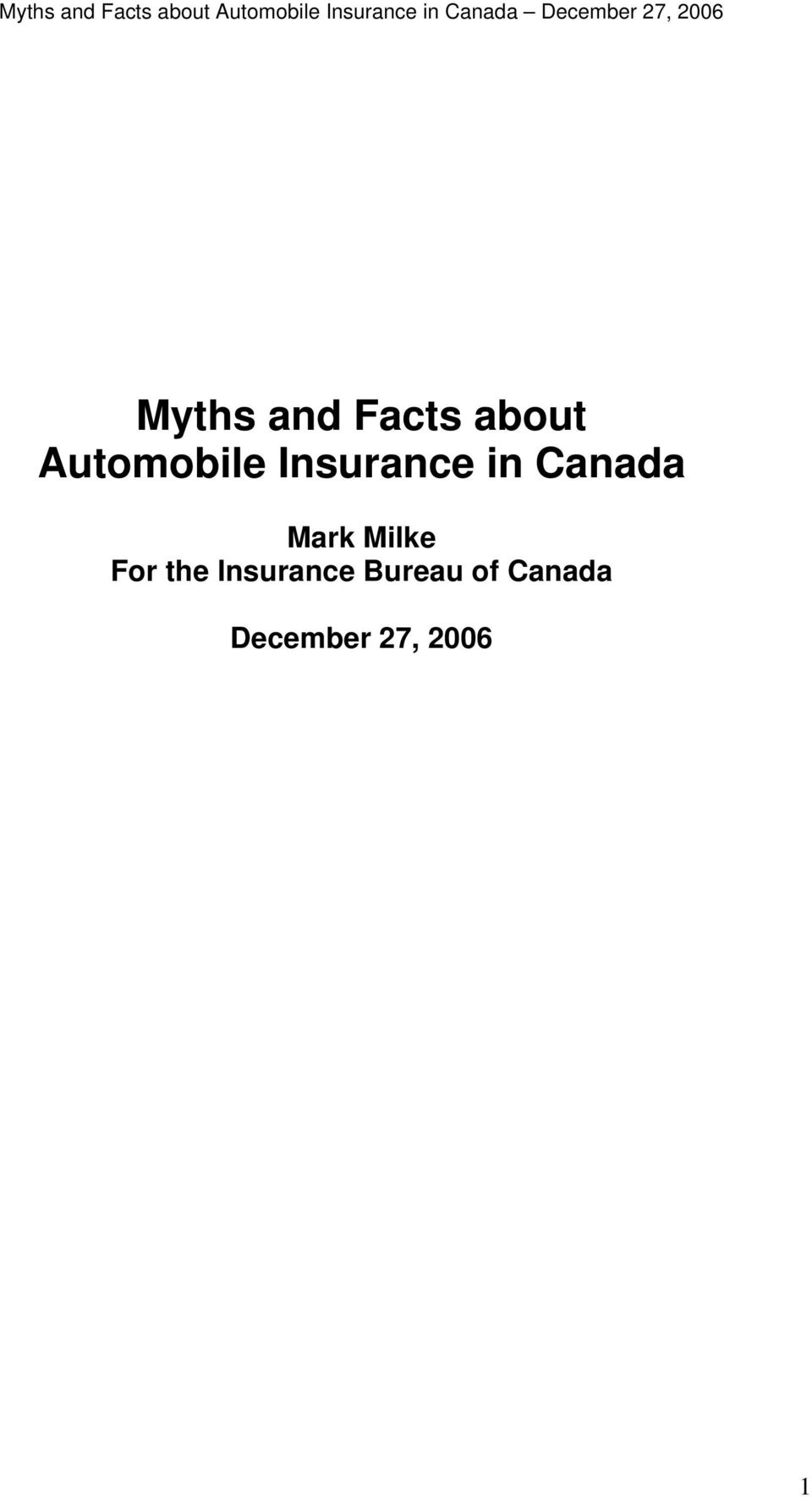 the Insurance Bureau of Canada December 27,