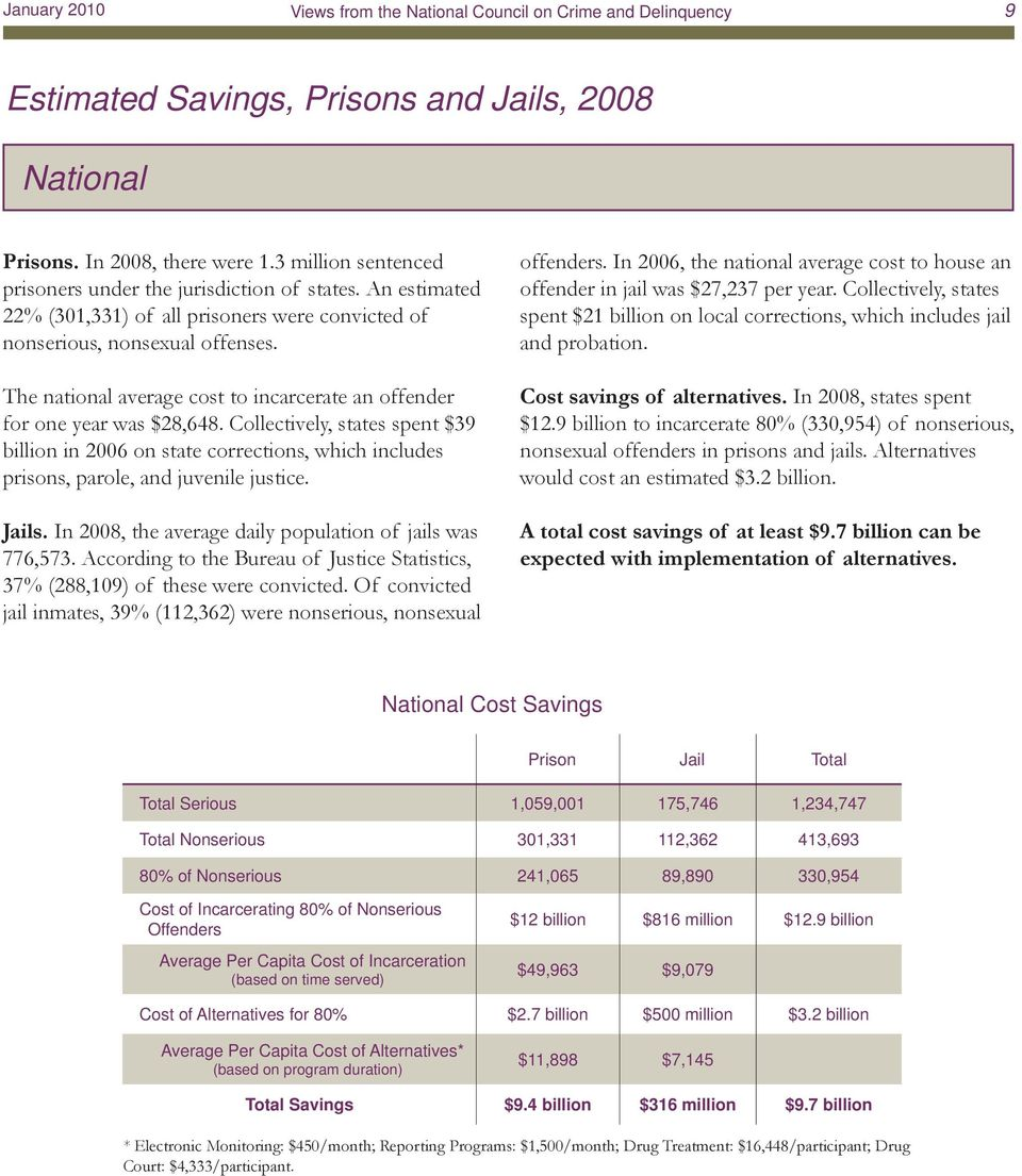 Collectively, states spent $39 billion in 2006 on state corrections, which includes prisons, parole, and juvenile justice. Jails. In 2008, the average daily population of jails was 776,573.