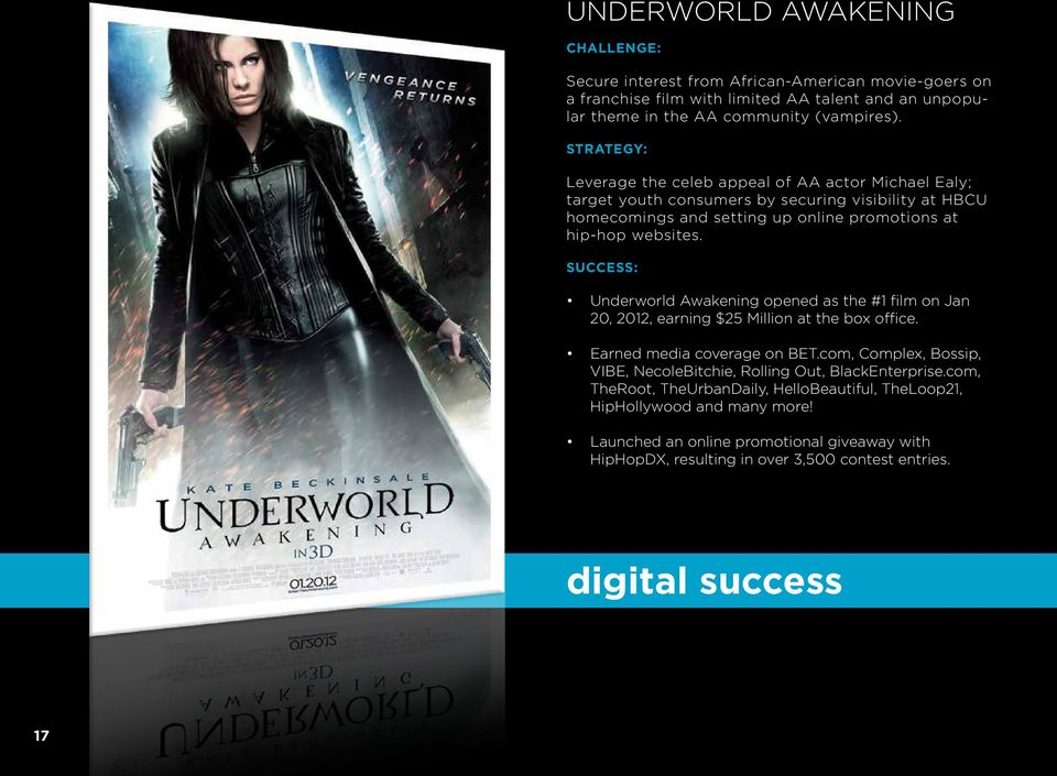SUCCESS: Underworld Awakening opened as the #1 film on Jan 20, 2012, earning $25 Million at the box office. Earned media coverage on BET.