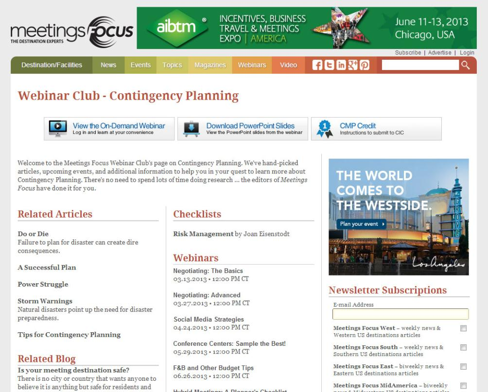 Meetings Webinar Club On each Webinar Club page, the individual sections will allow you to: Download webinar PPT slides View the webinar On Demand Obtain CMP Credit information Read