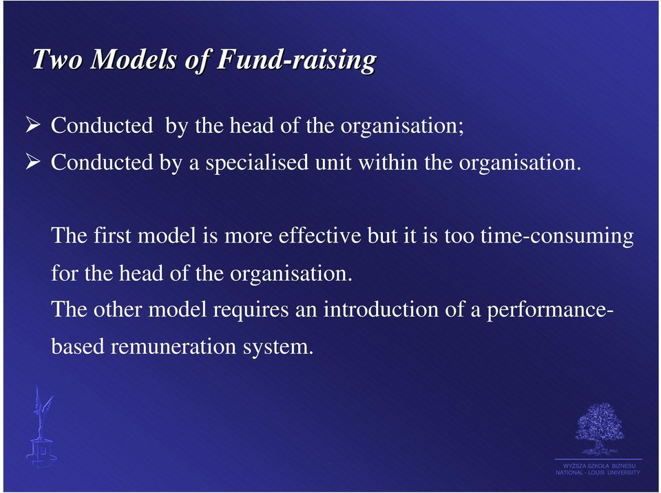 The first model is more effective but it is too time-consuming for the head