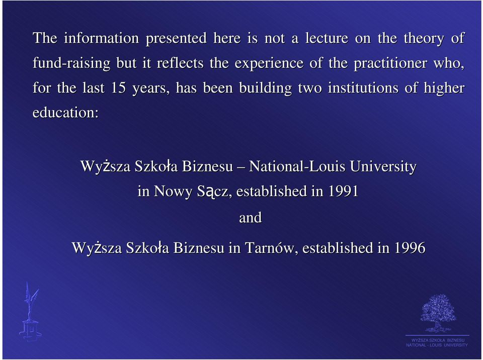 two institutions of higher her education: Wyższa Szkoła a Biznesu National-Louis University
