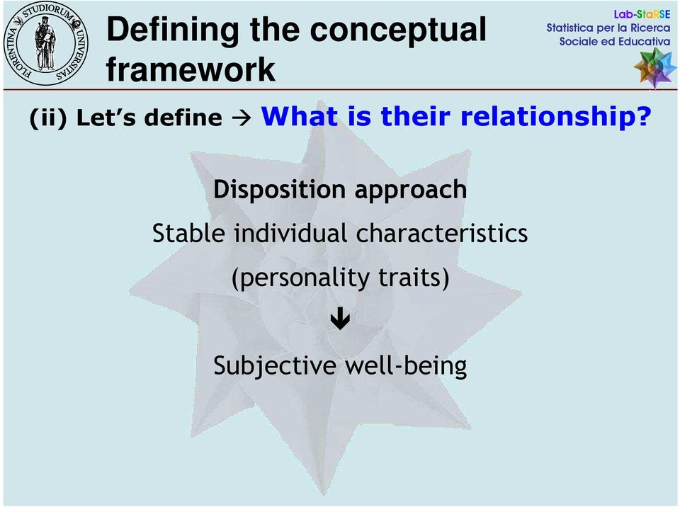 Disposition approach Stable individual