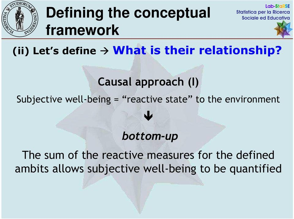 Causal approach (I) Subjective well-being = reactive state to the
