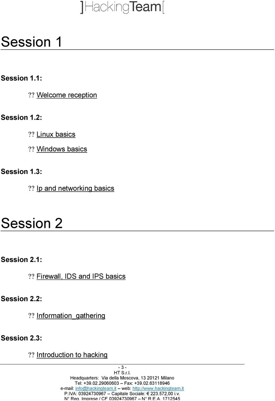 ? Ip and networking basics Session 2 Session 2.1:?