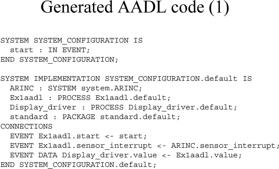 default; Display_driver : PROCESS Display_driver.default; standard : PACKAGE standard.default; CONNECTIONS EVENT Ex1aadl.