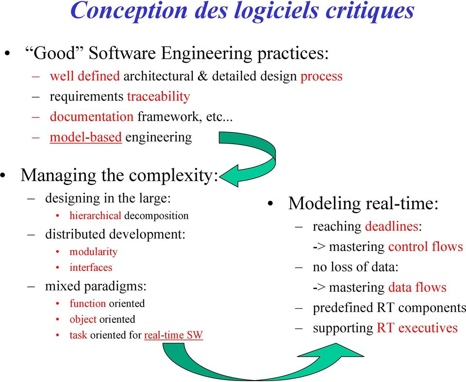 .. model-based engineering Managing the complexity: designing in the large: hierarchical decomposition distributed development: modularity