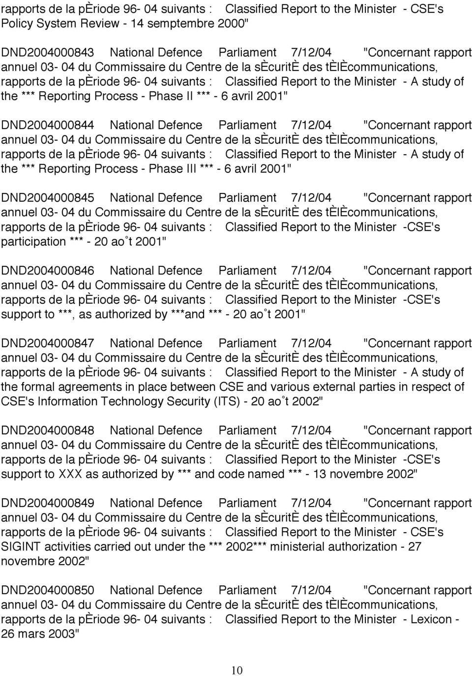 """Concernant rapport rapports de la pèriode 96-04 suivants : Classified Report to the Minister - A study of the *** Reporting Process - Phase III *** - 6 avril 2001"" DND2004000845 National Defence"
